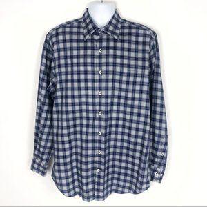 PETER MILLAR Plaid Check Navy Button Down Shirt L